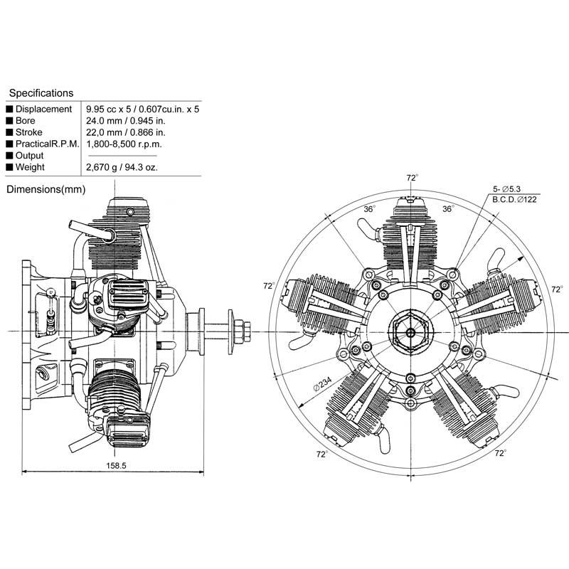 Os Engines Fr5 300 Sirius 5 Cylinder Radial 4 Stroke Glow Airplane